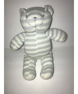 Nuby White Blue Stripe Knit Teddy Bear Plush Baby Lovey Toy Stuffed Anim... - $38.69