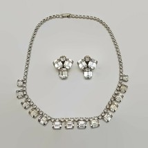 Vintage Weiss Sparkling Clear Rhinestone Necklace & Earrings Set  - $75.66