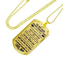 To My Son Loved Dad Dog Tag Necklace Pendant, Perfect gifts For Son From... - $44.95