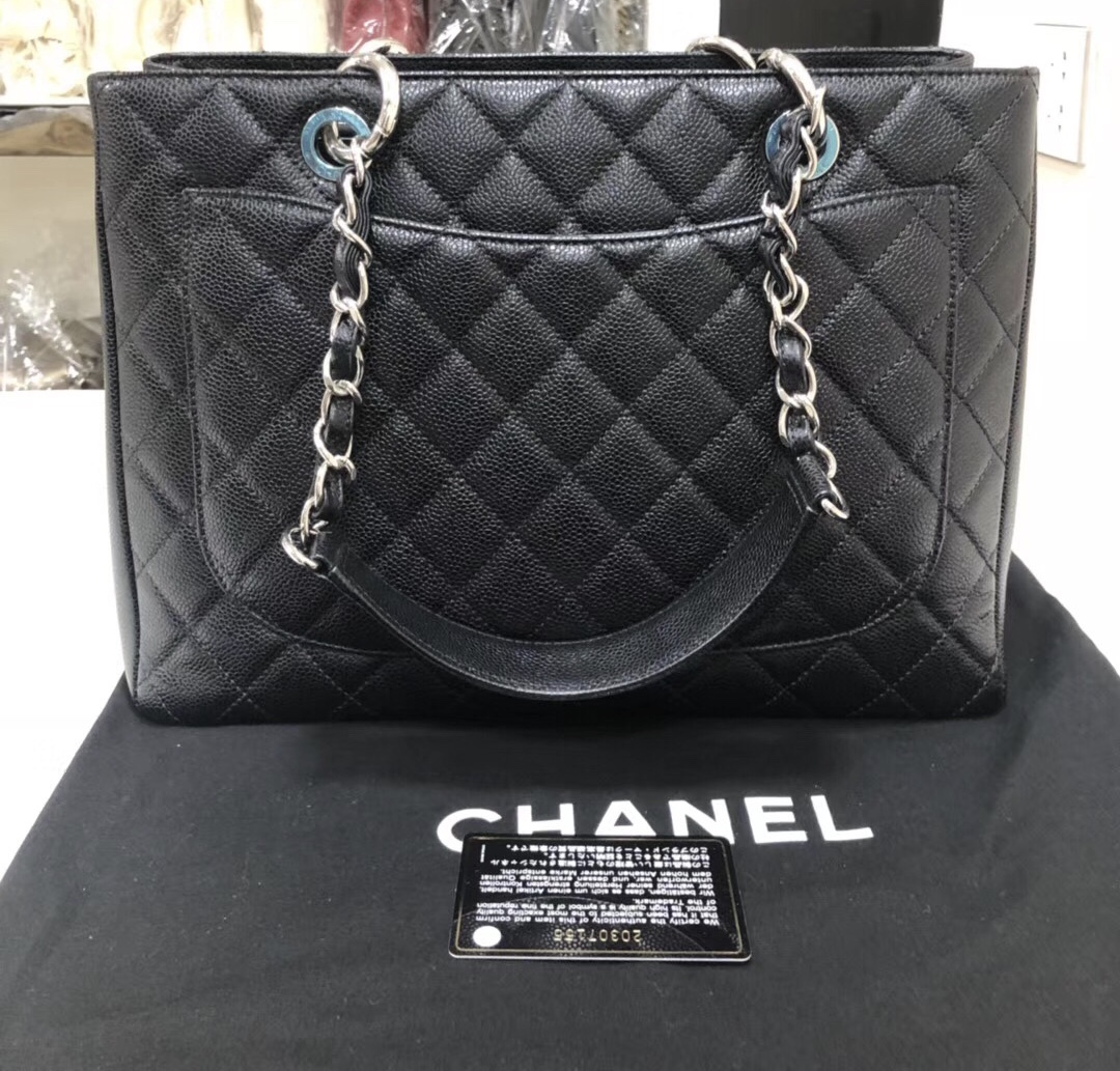 BRAND NEW AUTH CHANEL QUILTED CAVIAR GST GRAND SHOPPING TOTE BAG SHW