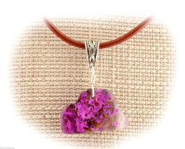 Pink Dyed Agate Wire Wrap Pendant Necklace A68-07 Leather Cord FREE GIFT... - $17.36
