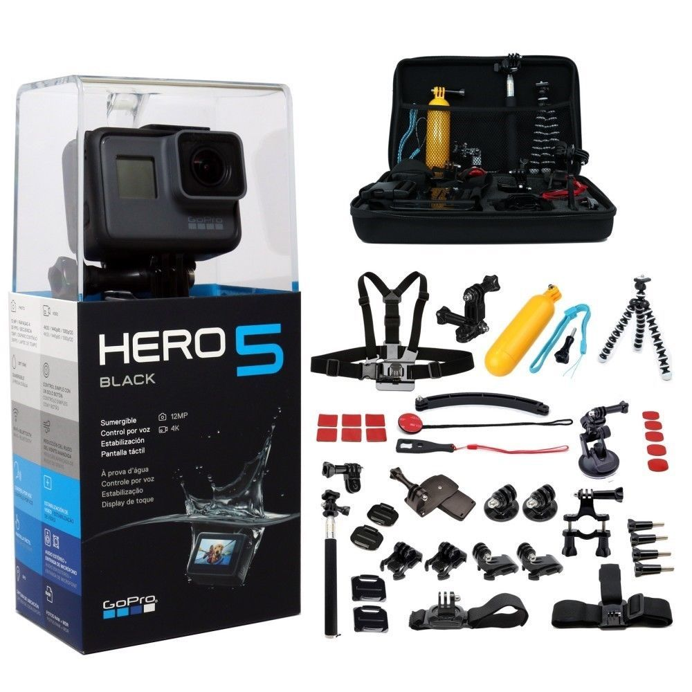 GoPro HERO5 Black Edition +45pcs Mega Accessories Kit. Camera Camcorder for sale  USA