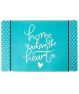 Sentiments Vinyl Placemats Set of 4 Blue Green Home Is Where The Heart Is - $18.99