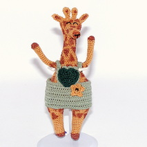 """Handmade Crochet Giraffe, Doll, CLothes, Arms Wired for Posing, 6"""" Tall,... - $21.25"""