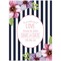 Stripes Blue White Flowers Save The Date Wedding Invitations - $375,93 MXN