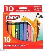 BRAND NEW PLAYSKOOL 10 COUNT COLOR JUMBO CRAYONS KIDS SCHOOL ART MARKER CRAYOLA  - $4.89