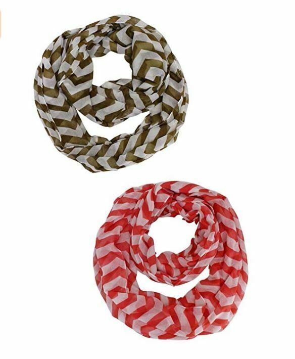 Primary image for 2pk Striped Chevron Infinity Scarves Set Olive Red Sheer Wraps Christmas Gift