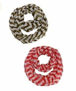 2pk Striped Chevron Infinity Scarves Set Olive Red Sheer Wraps Christmas... - €8,71 EUR