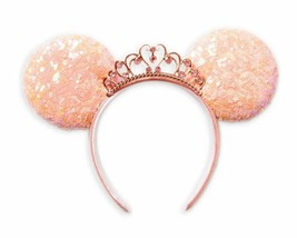 Disney Parks Minnie Mouse Princess Sequined Ear Headband – Coral with Tiara - $42.52