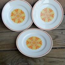 3 Royalton China Porcelain Salad Plates Orange & Yellow Japan Retro - $20.91