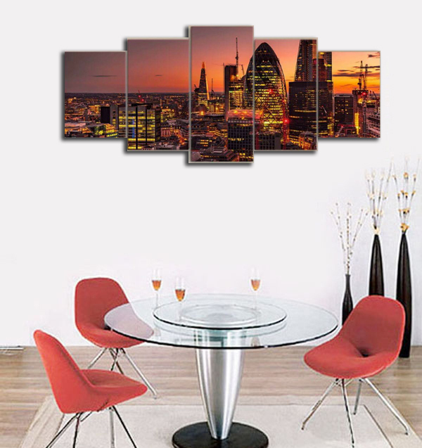 Framed 5 Piece Sunset city landscapes Picture Poster Canvas Wall Art ...