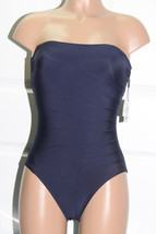 NEW Calvin Klein Solid Starburst Navy Blue Bandeau One piece Swimsuit S... - $49.49