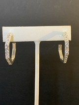 AVON Geometric Dimensions Hoop Earrings Silvertone w/Rhinestones (1574) - $10.00