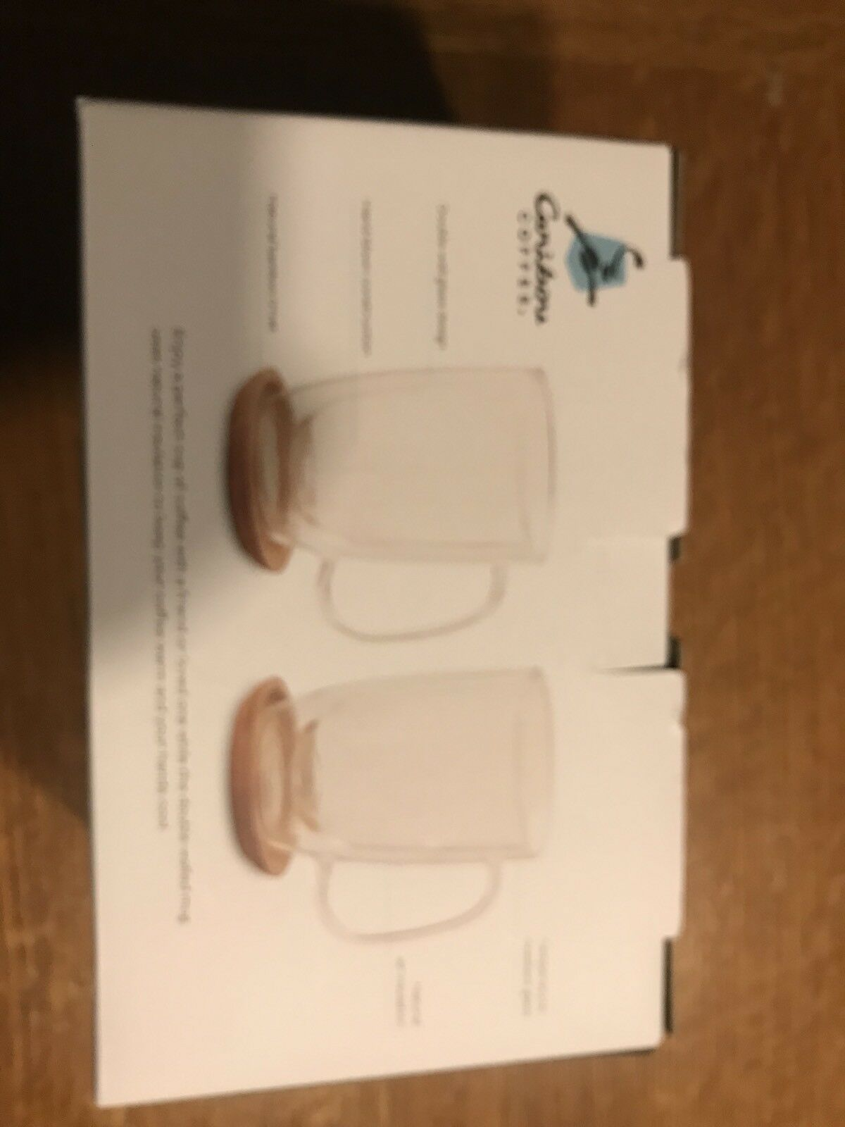 Caribou Coffee 12 0z. Coffee Mugs Double Wall Glass 2 Pack Includes Trivets
