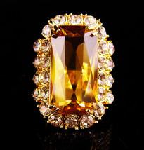 HUGE Topaz Costume ring - Yellow citrine - rhinestone statement ring - s... - $155.00