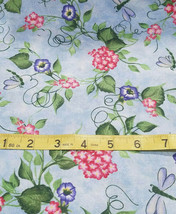 1/4 YDS Quilting Sewing Fabric Picket Fence Morning Glory Daisy Kingdom - $2.25