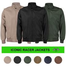 Men's Athletic Lightweight Water Resistant Slim Fit Racer Jacket