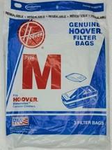 Genuine Hoover Vacuum Cleaner Bags Type  M  3 Pack 4010037M  - $9.80