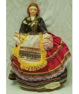 "Athens Greece Cloth Doll Traditional Folk Art Costume Dress 12-1/2"" Tall - $39.59"