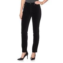 DG2 Diane Gilman Stretch Woven Velvet 5 Pocket Skinny Jean BLACK 12P NEW... - $35.62