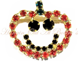 Pumpkin Pin Brooch Orange Black Crystal Smile Smiley Face Autumn Fall Ha... - $21.99