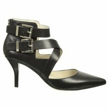 Women's Shoes Michael Kors Tamara Cross Strap Pump Heels Black Leather - $87.47