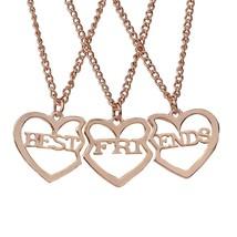 MayLove Best Friends Set of 3 Split Heart Engraved Friendship Pendant Ne... - $20.99