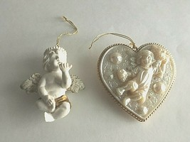 "Vintage Christmas Ornaments 4.5"" Resin Angel Heart 4"" Ceramic angel w/Wi... - $8.67"