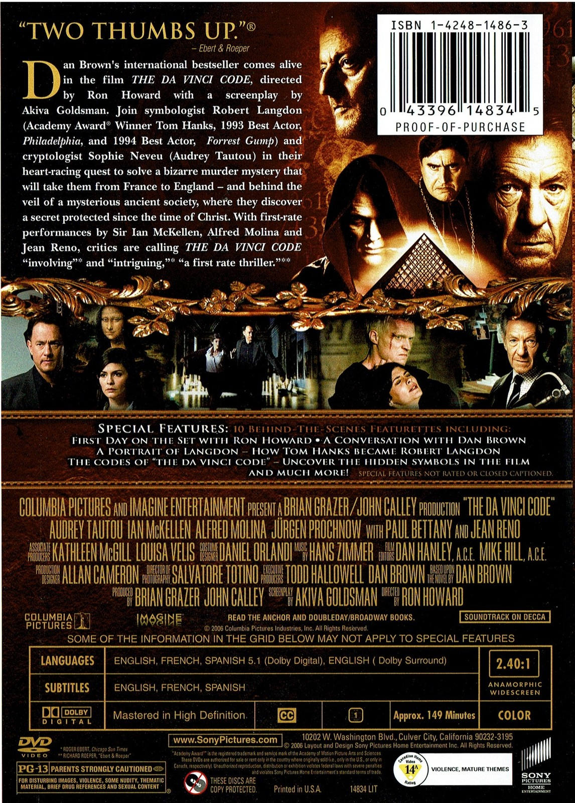 The Da Vinci Code, DVD Widescreen Two Disc Special Edition, Tom Hanks, 2006