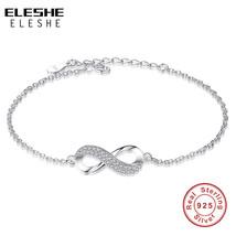 ELESHE Luxury Brand Solid 925 Sterling Silver Infinity Charm Bracelet fo... - $24.33