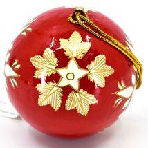 Asha Handicrafts Painted Papier-Mâché Red & Gold Snowflakes Christmas Ornament image 3