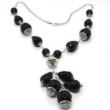 Necklace Silver 925, Onyx Black round, Drop, Bunch Pendant image 1