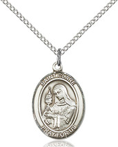 Sterling Silver St. Clare of Assisi Pendant 3/4 x 1/2 inch with 18 inch Chain - $53.55