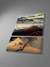 """Japanese Art Hokusai Collage Stretched Canvas Triptych. 48""""x30"""" - $122.22"""