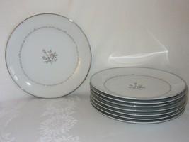 """8 Noritake China Mayfair Dinner Plates 10 1/2"""" Vtg Pink Rose Platinum Rim - $51.47"""