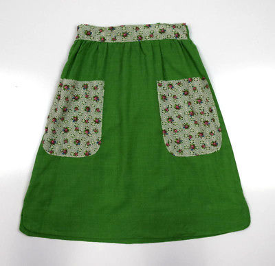 "Vtg Green Floral Lace Trim Apron Style Mid Calf A Line Tie Off Skirt S 28"" Waist"