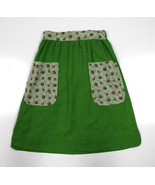 Vtg Green Floral Lace Trim Apron Style Mid Calf A Line Tie Off Skirt S 2... - $24.74