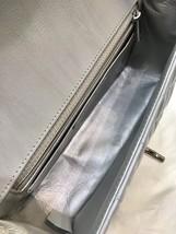 100% AUTH CHANEL SILVER CALFSKIN LARGE MINI 20CM RECTANGULAR FLAP BAG SHW image 9