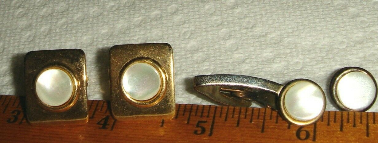 VTG 1955 BRIDE GROOM WEDDING MOTHER OF PEARL CUFF LINKS TIE CLIP COLLAR TACK SET