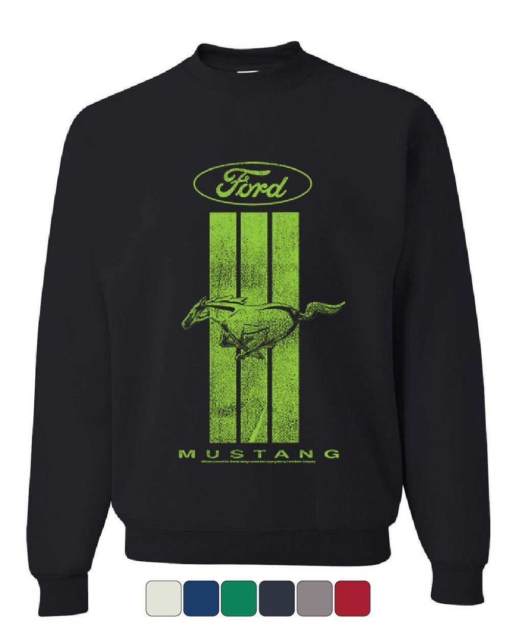 Primary image for Ford Mustang Green Stripe Sweatshirt Classic American Muscle Car