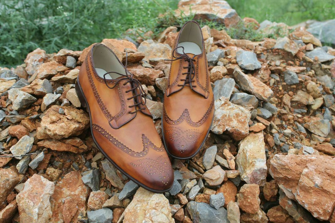 Handmade Men's Brown Wing Tip Brogues Lace Up Dress/Formal Oxford Shoes
