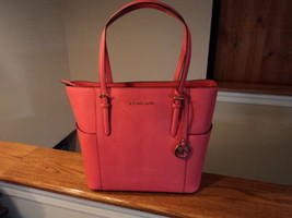 Michael Kors Jet Set Travel Saffiano Leather Tote Rose Pink NWT Gift Rec... - $148.49