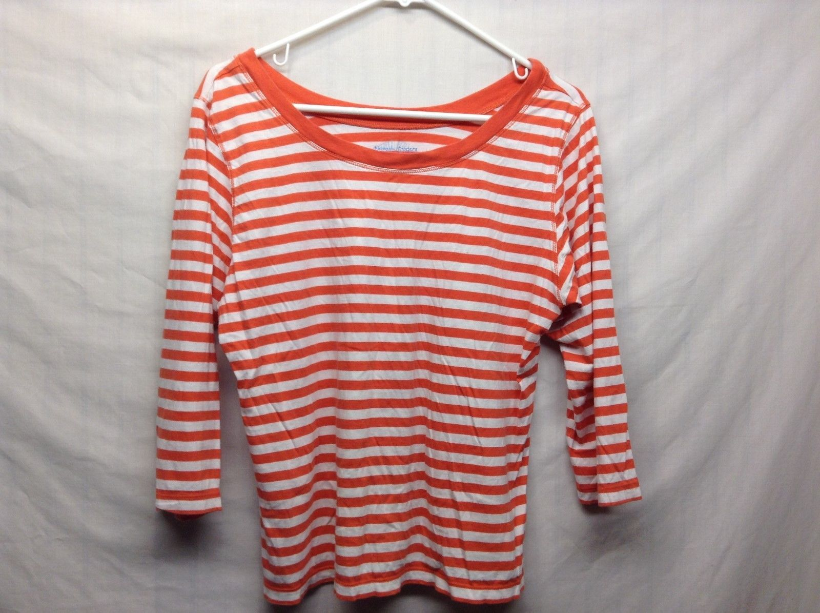 Nomadic Traders Salmon Colored Horizontally Striped Shirt Sz LG