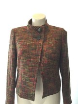 NEW Talbots blazer 14 Petite XL wool bl green red woven 2 button swing work - $101.88