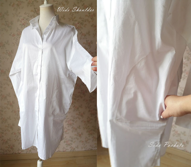 Plus Size Oversized White Cotton Shirt Blouse Long Sleeve Boho long Women Blouse