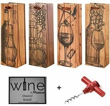Set of 4 Elegant Bar Tools & Drinkware Wine Gift Bags & Bonus Corkscrew ... - $16.82