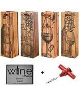 Set of 4 Elegant Bar Tools & Drinkware Wine Gift Bags & Bonus Corkscrew ... - $16.82