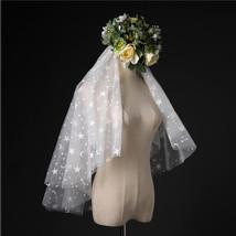Ivory Shoulder Length Wedding Bridal Veils Layer Floral Lace Tulle Bridal Veils  image 6