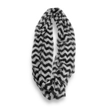 Black White Chevron Stripped Sheer Infinity Scarf Loop Sheer Wrap Scarve... - $9.49