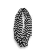 Black White Chevron Stripped Sheer Infinity Scarf Loop Sheer Wrap Scarve... - €8,71 EUR